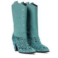 DEAT 2020 New Autumn And Winter Fashion Casual Solid Color Pointy Wedge Heel Sleeve Green Diamonds Women Boots SG774