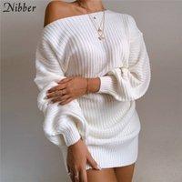 Nibber Elegant College Stil Gestrickte Pullover Kleider Für Frauen Herbst Winter Lose Von Trägerlosen Weihnachten Partykleider Weibliche Y0118