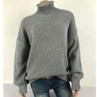 Vitiana Hecha de punto suéteres en otoño e invierno de 2019 Mujeres Casual Knit Suéter femenino manga larga jersey Tops sueltos 201123