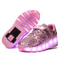 Risrich Kids LED USB роликовые туфли для мальчика девочки дети светящиеся светлые сияющие кроссовки с двойными колесами для мальчиков девушек Y1117