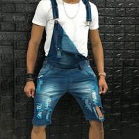 Hombre Denim Bib Pantalones de babero lavados Media Longitud Jeans Monumentos Hip Hop Straight Jean Monos para hombres Streetwear Nuevo mono macho