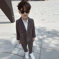 Neue Jungen Plaid Outfits Kinder Revers Zweireiher Blazer Outwear + Hosen 2 stücke Sets Kinder Gentleman Sets A5371