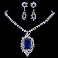 Wholesale Zircons AAA Качество Кубический Цирконий Большой Ряджел Royal Blue Bridal Свадьба Вечерние Серьги Ожерелье Ювелирные Изделия Набор для женщин