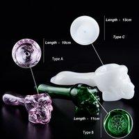 CSYC 3 Arten Schädel Hexe Glas Hand Pfeife mit Bong-Schalen PERC-Tabak-Rohrglasöl-Brenner-Löffel-Rohr DAB-Righ-Bubbler
