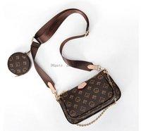 2021 3pcs 세트 멀티 Pochette 크로스 바디 가방 패션 어깨 가방 블랙 체인 포켓 동전 지갑 지갑