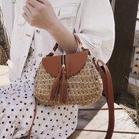 Designer Handgemachte Quaste Stroh Strandtasche Sattel Strick Boho Tasche Kleine Geldbörse Bambus Günstige Sommer Handtaschen Rattan Bag 2019