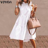 Vonda Seksi Elbise Kadınlar Vintage Kolsuz Ruffled Mini Elbise 2020 Yaz Plaj Tatil Sundress Bohemian Vestidos Artı Boyutu Robe1