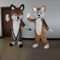 Cadılar bayramı Uzun Kürk Husky Köpek Fox Fursuit Maskot Kostüm Takım Elbise