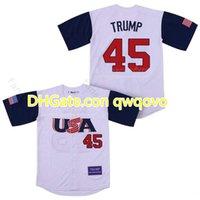 رجل رقم 45 دونالد ترامبالتذكارية الطبعة 100٪ مخيط البيسبول الفانيلة رخيصة دونالد ترامب الأبيض البيسبول جيرسي قميص حجم S-XXXL