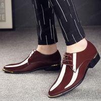 Большой размер роскошный человек заостренный носок платье обувь классическая мужская патентная кожа черная свадебная обувь Оксфордская формальная обувь