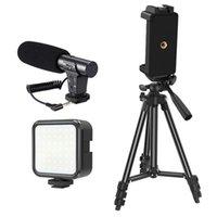 Telefone Video Vlog Kit Phone Bracket Microfone Fill Light Combinação Conjunto para Vlog Live Gravação