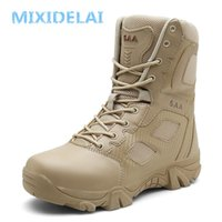 Mixidelai Boyutu 39-47 Çöl Taktik Erkek Botları Aşınmaya dayanıklı Ordu Çizmeler Erkekler Su Geçirmez Açık Yürüyüş Erkekler Savaş Ayak Bileği Çizmeler LJ201028