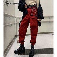 Rockmore Harajuku Fita Calças de Carga Mulheres Plus Size Jogadores Inverno Sweatpants Calças Preto Loose Largura Perna Suor Pants Femme Y1121