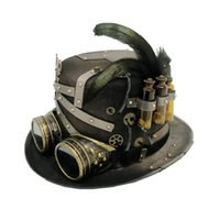 Uomini donne Handmade Steampunk Top Hat Magic Bowler Hat Punk Cosplay Fedora
