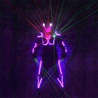 RE32 TRON Costumi LED RGB Light Robot colorato Robot Uomini Vestito DJ Indossare Vetro Led Glove Guanti Guanti laser Guanti dell'armatura Proiettore laser dell'outfit Proiettore laser Mostra 201216