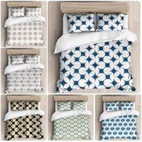 Conjuntos de ropa de cama 3D sólidos azul denso de color geométrico patrón de bloque de cama doble conjuntos de cama doble 3pcs cubierta de funda de almohada sin camas