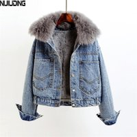 Nijiuding inverno casual sólido sólido real colarinho jaqueta jaqueta feminina solta solta solteira mais veludo markas mulheres 201214