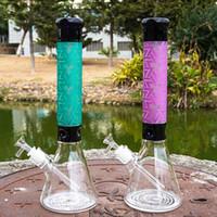 새로운 비이커 봉 유리 봉 스트레이트 타이 베이프 워터 파이프 18mm 공인 그릇 두꺼운 봉 15 인치 유리 물 봉지 확산 된 다운 시스템 wh001