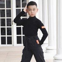 Stage Wear Latin Dance Tops per Boys Black Ballroom Practice Costume Tap Blouse Samba Vestiti Abiti JL2185