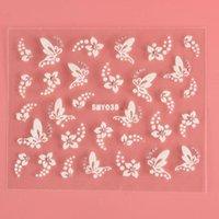 스티커 데칼 1 장 매혹 손톱 꽃 나비 라인 석 흰색 레이스 3D 손톱 스티커 아트 장식 액세서리