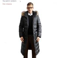 White Down Jacket Men Long Winter Coat Raccoon Fur Collar Plus Size Warm Men's Jackets 2020 91608 KJ30951 Men's & Parkas