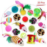 Cat Interactive Toy Crinkle Ball colorato Feather Bell Wand Peluche Mouse Kitts Sticks Giocattoli Accessori per animali domestici JK2012XB