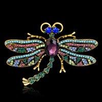 Haute Qualité Vintage Big Dragonfly Broches Pinches pour Femmes Coloré Brillant Cristal Animal Insective Foulard Broche Pins Bijoux
