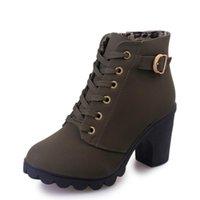 Boots Oein Mulheres Inverno Inverno Matte Pu Couro Calçados De Saltos Altos Sapatos Pontilhados Altura Aumentando Aumentar Lace Up Bombilhas tornozelo