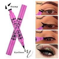 Chaud 2In1 Noir Eye-liner Crayon Timbre de maquillage liquide Stylo étanche imperméable à double tête à double tête mince maquillage cosmétique