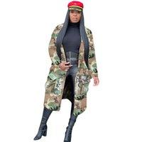 Damen Trench Coats Omilka Camouflage Brief Gedruckt Langmantel 2021 Herbst Frauen Vollarm Pocket High Street Hip Hop Casual