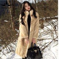 LEIOUNA Femmes 2020 Automne Hiver Faux Coat Femme Stand Collier À Manches Longues manches moelleuses Fausse veste à fourrure épaisse d'épaisseur d'épaisseur