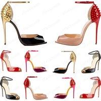 Novas Mulheres Lacing Moda Rebite Saltos Altos Vestido Vermelho Bottom Peep Toe Shoes Super High Heel Sandálias Spiked Diamond Bomba 10cm Tamanho 34 -42