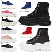 2021 Fashion Tread Slick Lace Up Canvas Sneaker Donne Alta Sole Sole Black Royal Platform Red Rosa Rosa Womens Scarpe da scarpe da scarpe da sovravitazione