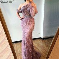 Federn Perlen Luxus Sparkle Mermaid Formale Kleid Party 2020 One Shouder Wine Red Long Dresses Abend Serene Hill LJ201120