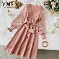 Yuoomuoo романтические женщины вязаные розовые вечеринки платье падение зима V шеи элегантный шифон с длинным рукавом платье платье платья 201204