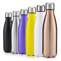 Vakum bardak su şişeleri 500 ml yalıtımlı çift duvar seyahat su paslanmaz çelik kola şekli açık su şişeleri 60 adet T1I3012