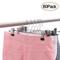 80Pcs Strong Metal Pants Hangers Adjustable Clip For Trousers Skirt Dress Slacks Aniak