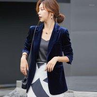 Abiti da donna Blazer Blazer Blazer Velvet di fascia alta Donna L'autunno e inverno Corduroy Suit Fashion Plus Size S-3XL1
