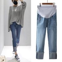 Fondos de maternidad Mujer embarazada Jeans Spring Otoño Denim Pantalones rectos Mujeres ajustables Pantalones de vientre Pantalones Embarazo