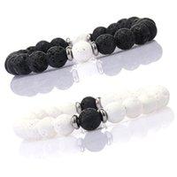 Bracelets de pierre de la pierre naturelle de 8mm de pierre naturelle Bangles Yoga Balance Noir Blanc Perles Prier Bracelet élastique pour hommes Femmes Bijoux 65 K2