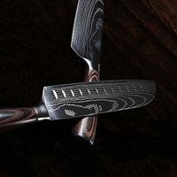 Großhändler 7CR17MOV Klinge Japanische Küchenmesser Laser Damaskus Muster Chefmesser Scharfe Santoku Cleaver Slicing Utility Messer Werkzeug EDC