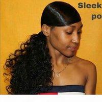 Natural ondulado cordón caballo caballo cabello humano brasileño afro clip en extensiones No Remy Natural Color 2 Combs Kinky Curly Ponytail Hairpiece