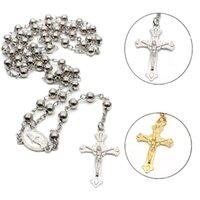 2 colores religión Rosario Collar Cristiano Virgen María Jesús Cross Cross Long Beads Cadenas Colgante para mujeres