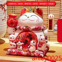 Creamic Fortune chat argent chanceux chat peut serrer la main Maneki Neko Accueil Décoration Cadeaux Bel ornement Cadeau chanceux