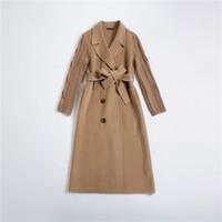 Winter Femmes Manteau de laine Turn Collier Double boutonnage Longue en laine de laine double face Cachemire Camel Office Lady Veste chaude