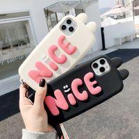Bella cassa del telefono delle orecchie del coniglio 3D per iPhone 12 mini 11 Pro Xs Max XR x 8 7 Plus Ragazza Carino cartone animato Copertura del silicone morbido