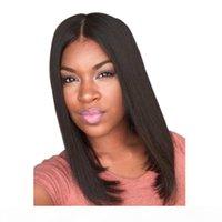 WoodFestival Orta Uzunluk Siyah Peruk 38 cm Sentetik Peruk Siyah Kadınlar Için İyi Kalite Düz Sentetik Saç Peruk Yok Patlama Fiber Peruk