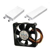 Fans Kühlungen 2 Stück Zubehör: 1 bürstenlos DC 12 V 0.1A Quadratischer Kühllüfterkühler Aluminium-Flüssigwasserblock für Compute1
