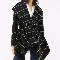 Wolle Wolle Cape Revers Tweed Plaid Unregelmäßiger Saum Gitterjacke Retro Slack geprüft Langarm Mantel Slim Weibliche Elegante Top Oberbekleidung