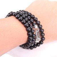 Черные обсидианские спутанные бусины с кругом застежкой ленты цепи ожерелье, -Rebel в стиле сердца ювелирные изделия для мужчин